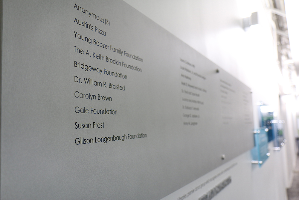 Donor wall in PCL.