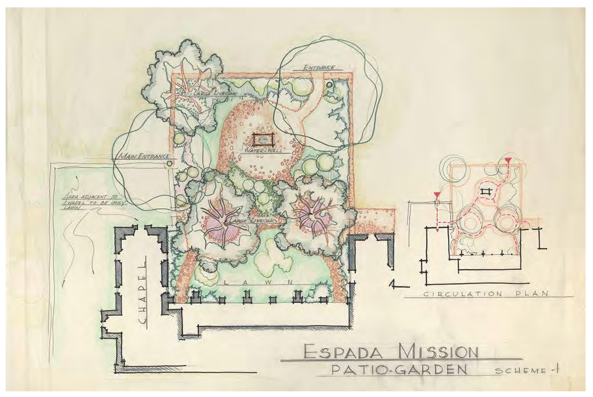 Stewart King (architect). Patio garden and circulation plan for Mission San Francisco de la Espada, Scheme 1, San Antonio, Texas. ca. 1957. Marker, pencil, and crayon on paper. 21.5 x 32.25 in. Stewart King collection. Alexander Architectural Archive.