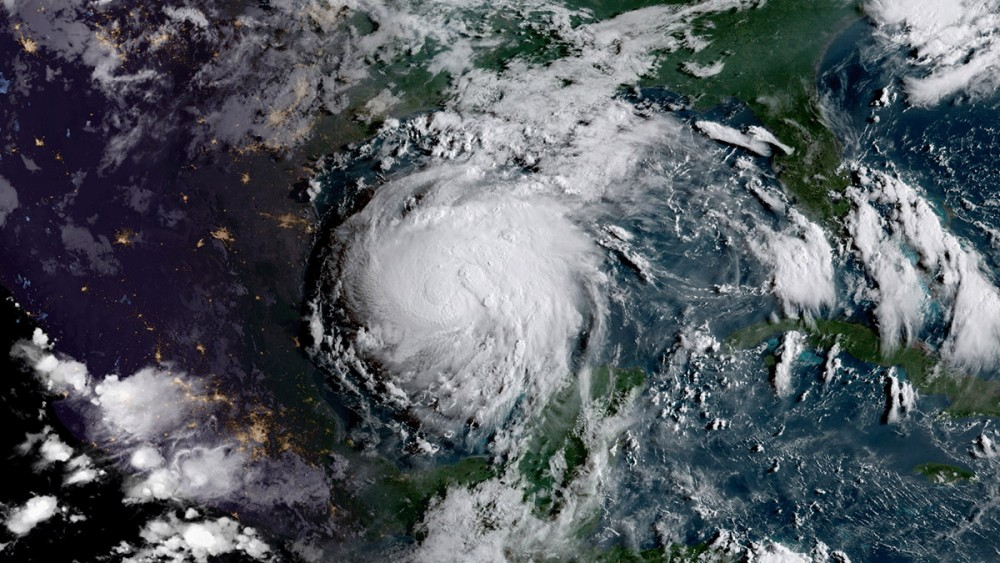 Hurricane Harvey from satellite imagery. NOAA/NASA GOES Project.