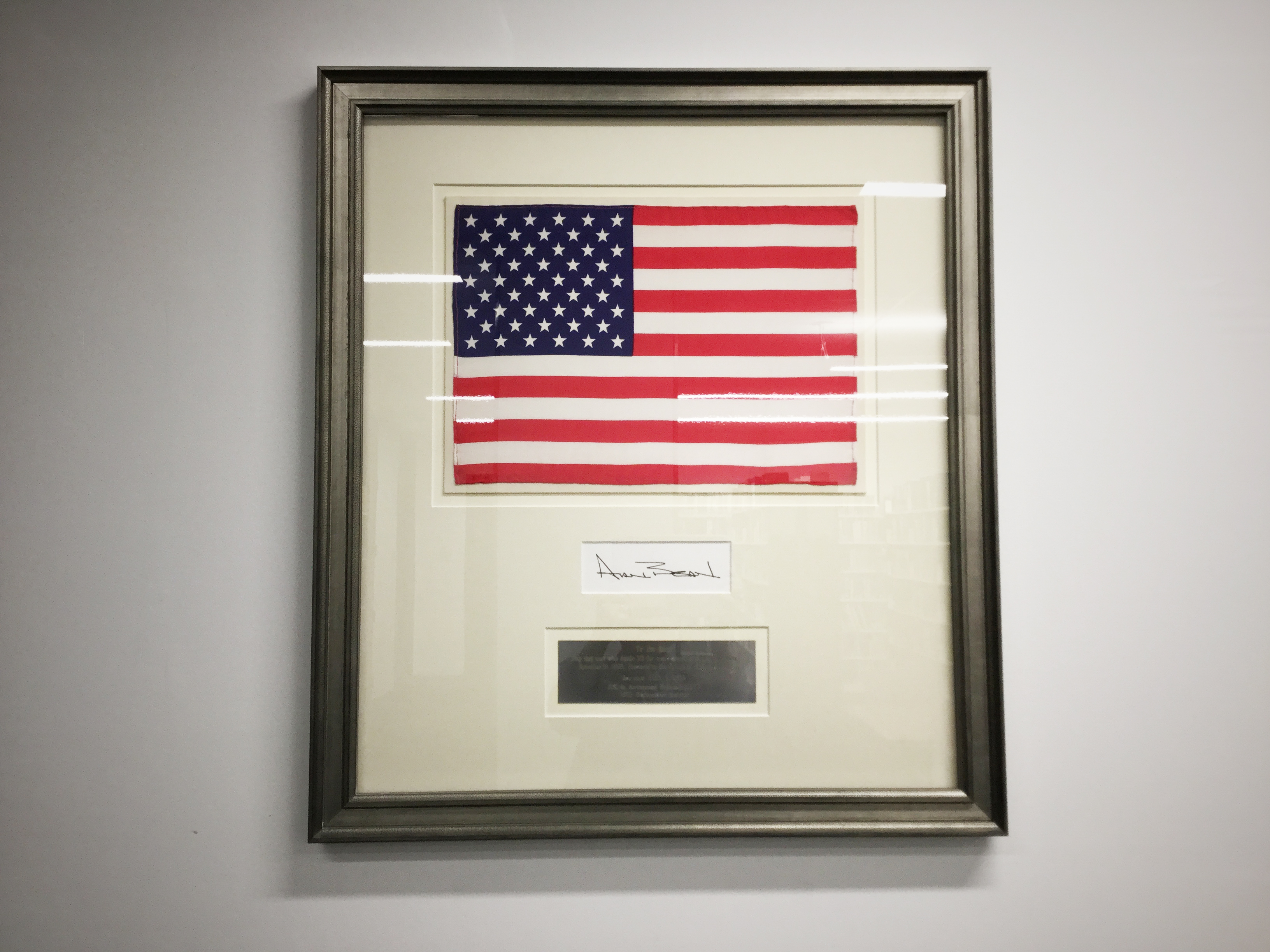 A flag from astronaut Alan Bean's lunar mission.