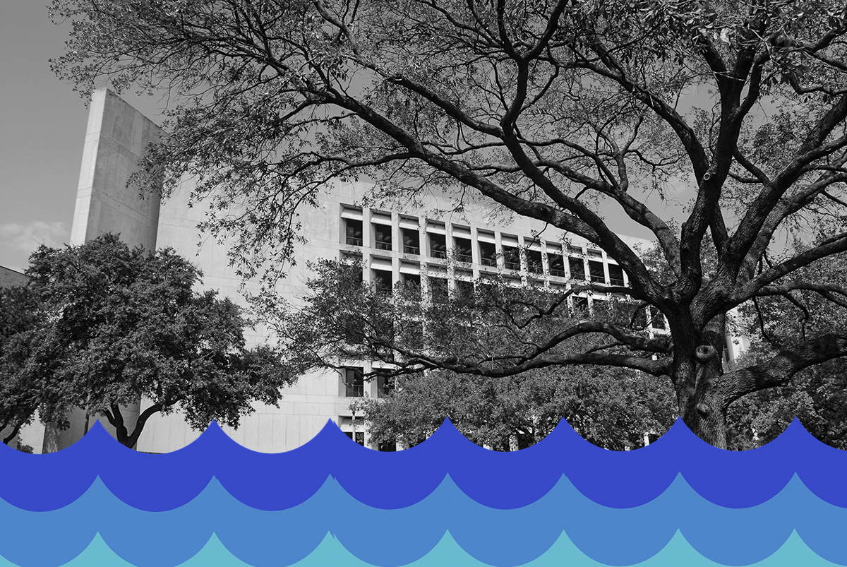 Perry-Castaneda Library with water graphic overlay.