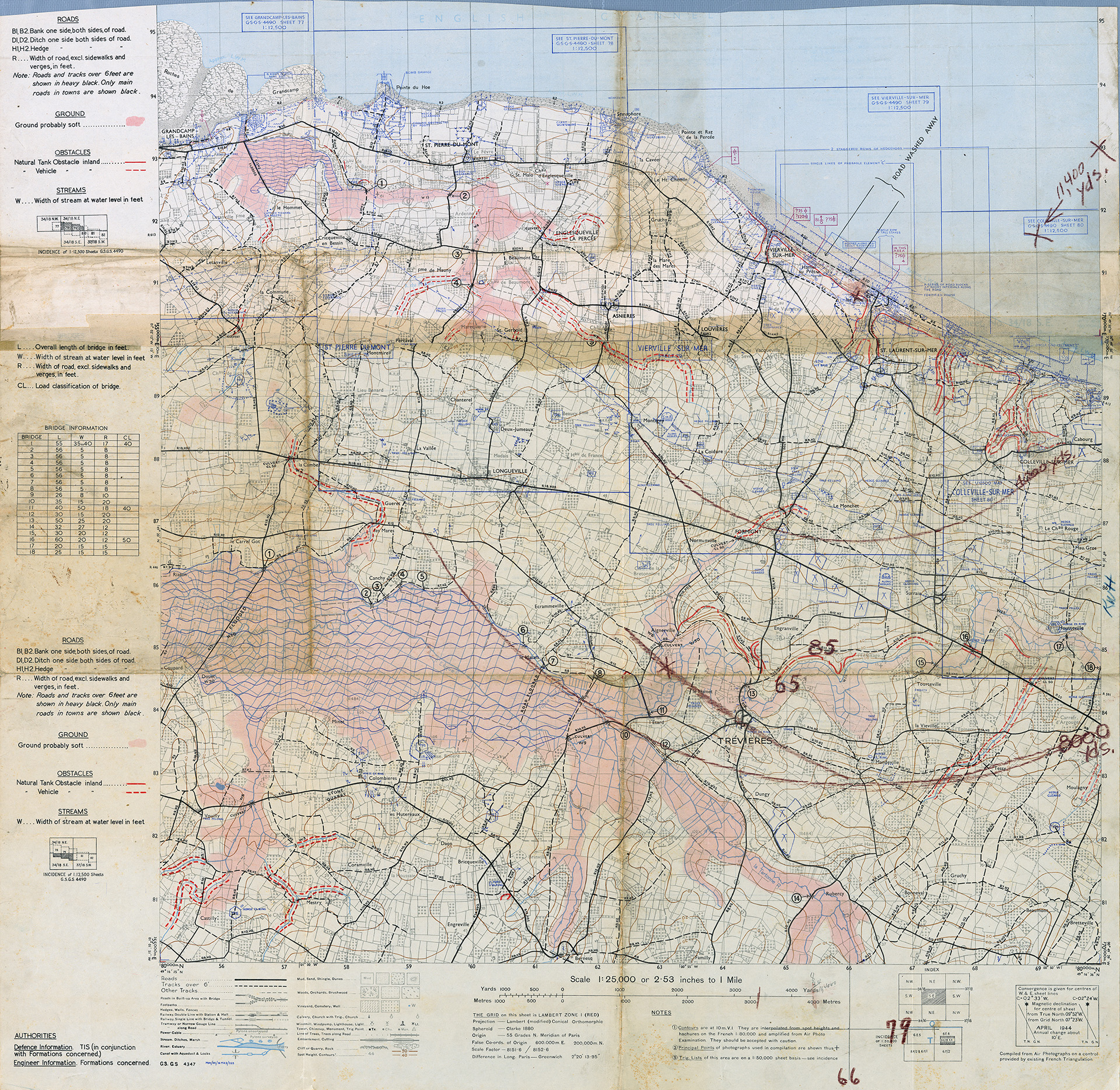 Map used by U.S. Navy, Lieutenant Commander Ron Beery while on sea duty in the Atlantic amphibious force during the assault on the Coast of Normandy, France.