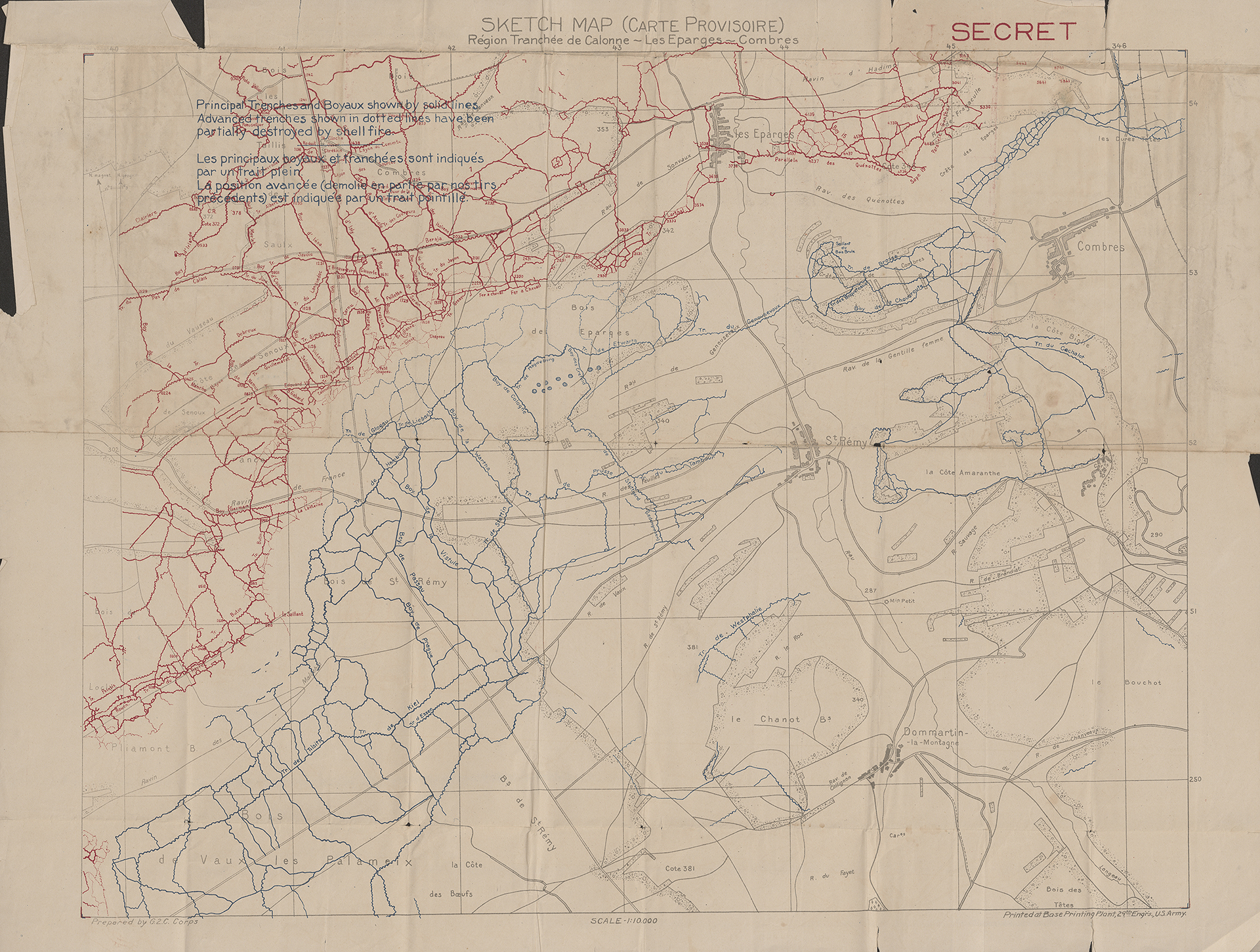 This Sketch Map shows the trenches in the Meuse region of France. The red represents the Allied Forces and the blue German.