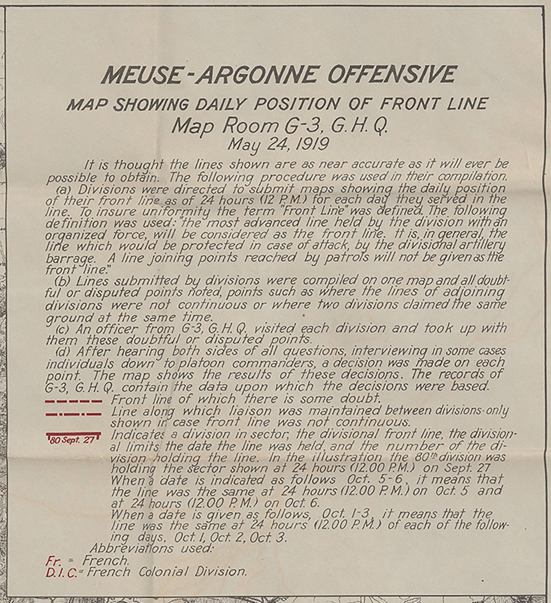 (Detail) Meuse-Argonne Offensive map showing daily position of front line.