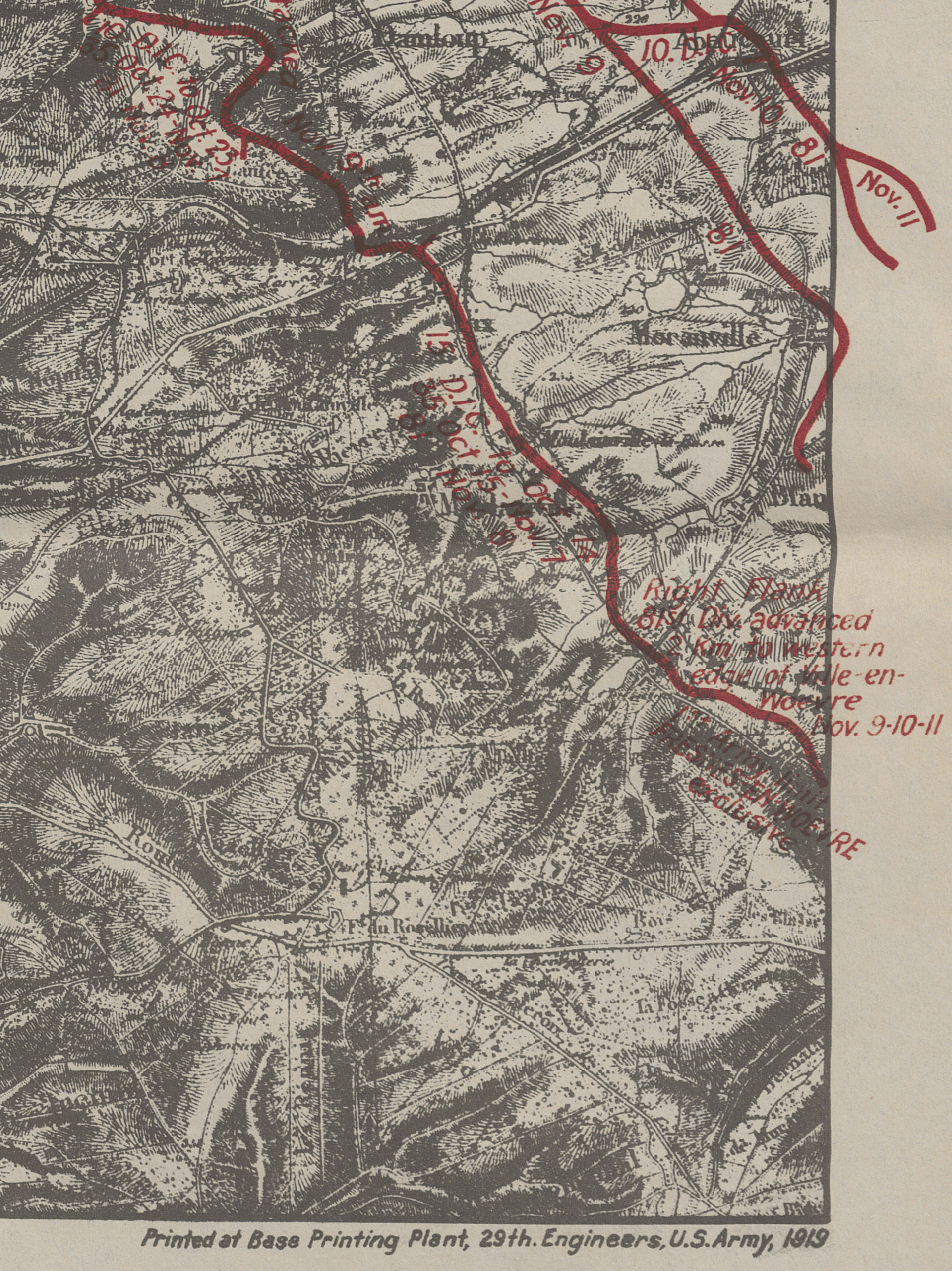 (Detail) Many of Col. Fenton's maps were printing at the U.S. Army, Base Printing Plant in Langres, France, just 125 miles from the front.