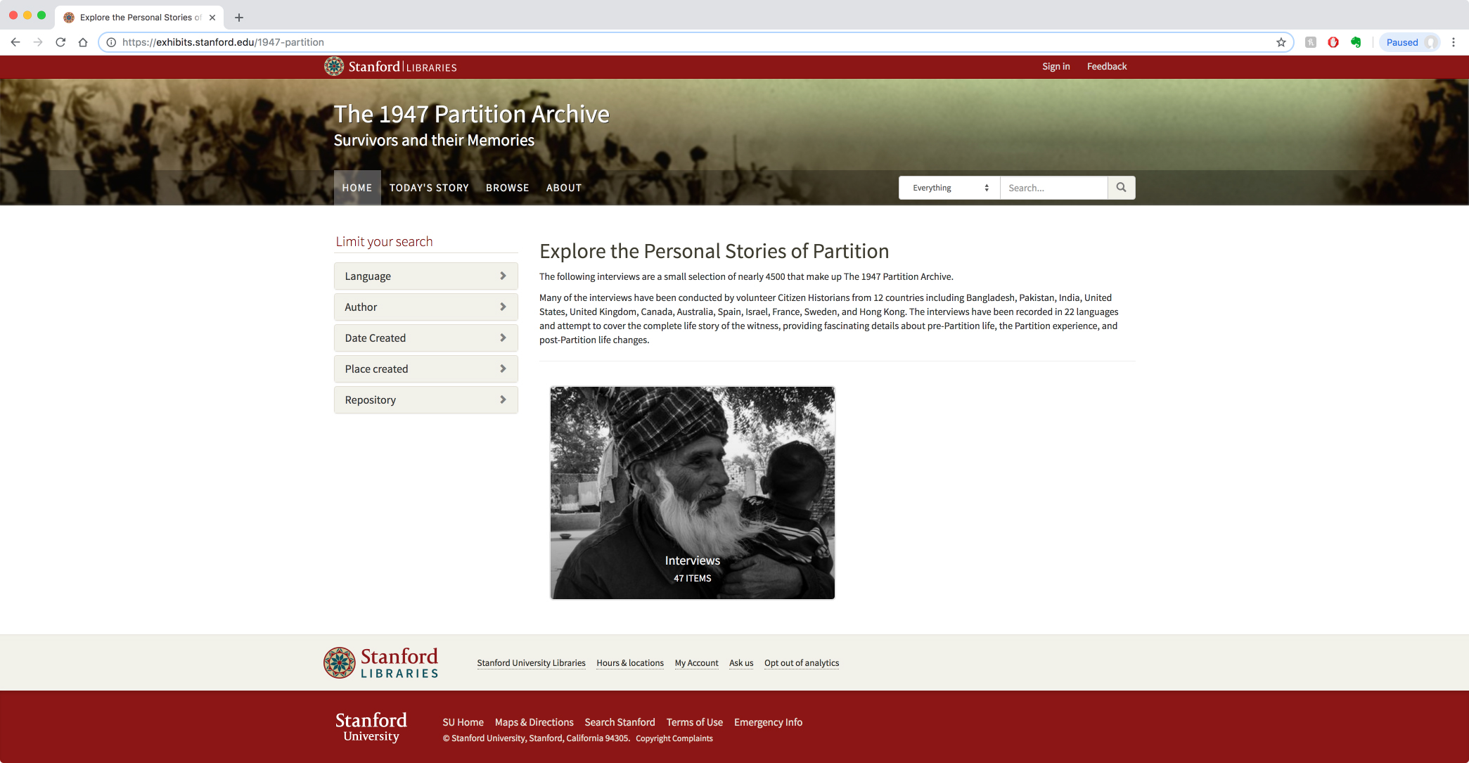 Stanford University's 1947 Partition website.