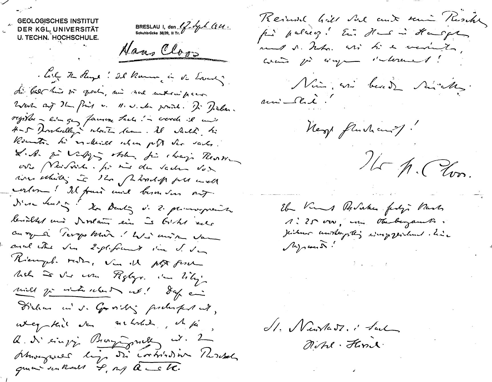 Letter to H.B. Stenzel from Hans E. Cloos on 1921-09-12.