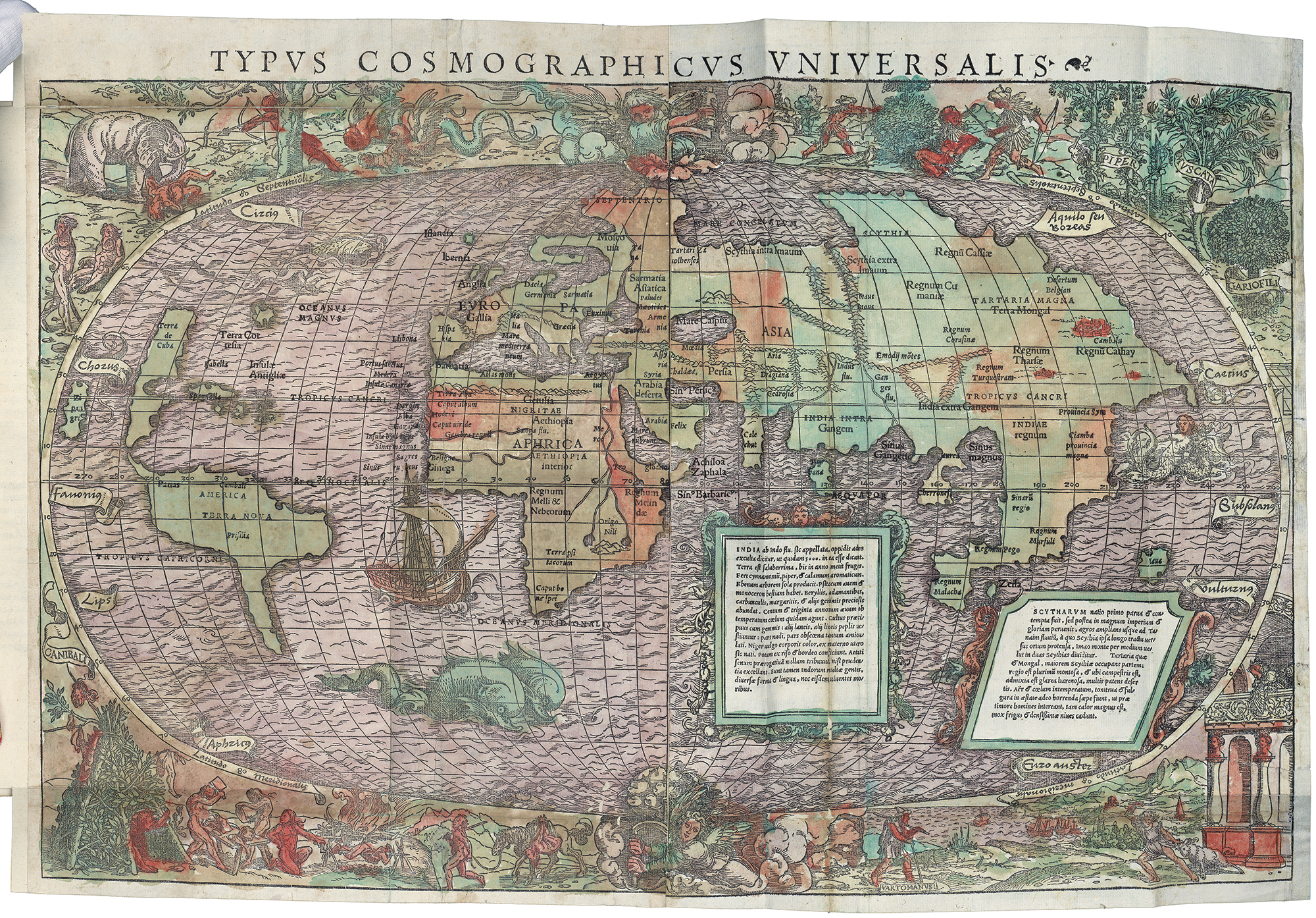 """Typvs Cosmographicvs Vniversalis in Novvs Orbis Regionvm ac insvlarvm veteribvs incognitarvm"" Attributed to Sebastian Münster, cartographer, and Hans Holbein the Younger 1537 print and wash on paper 15 x 22 in."