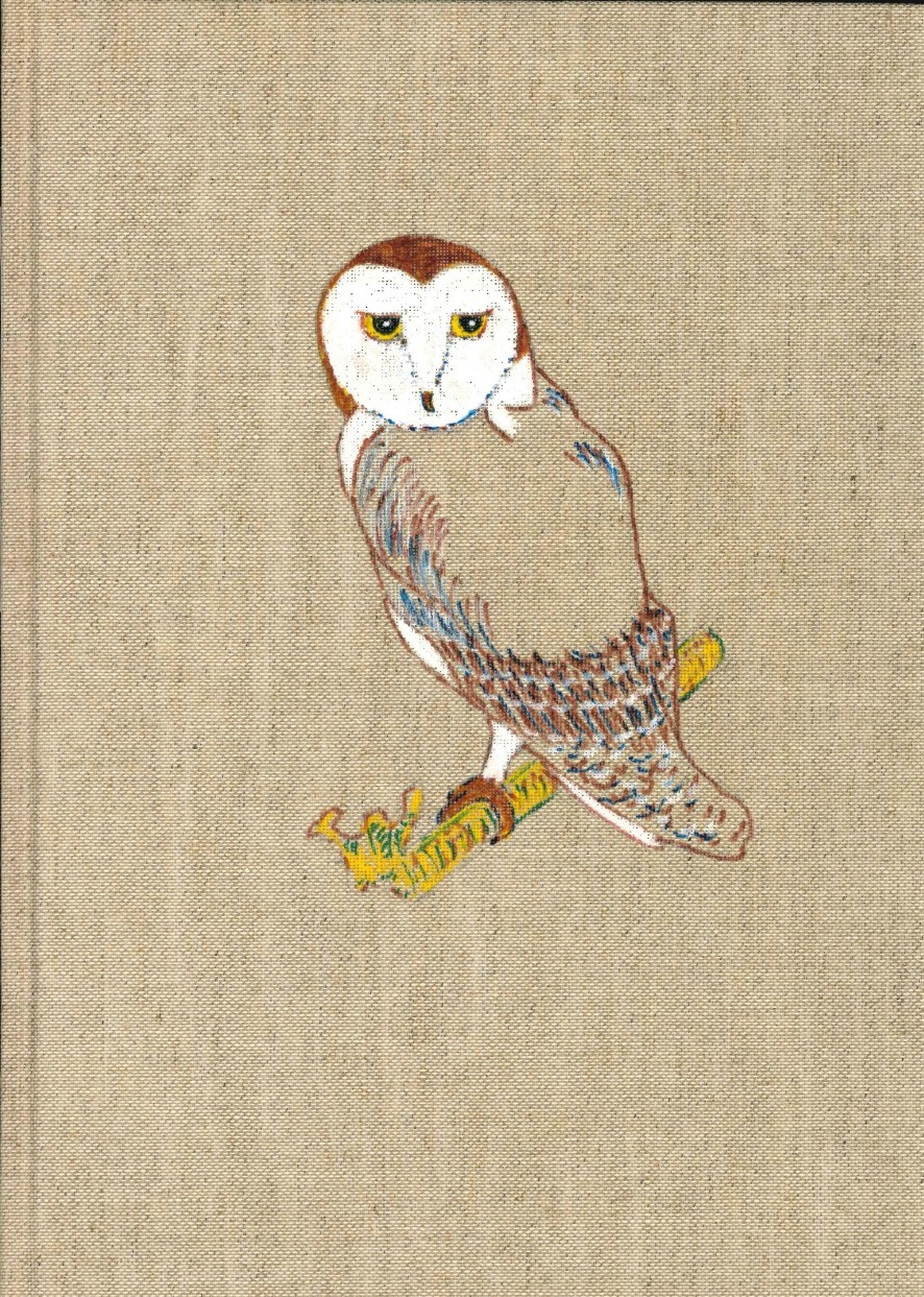 A hand-colored drawing of an owl by Barbara Holman on the linen cover of Billing's book Texas Beast Fables.