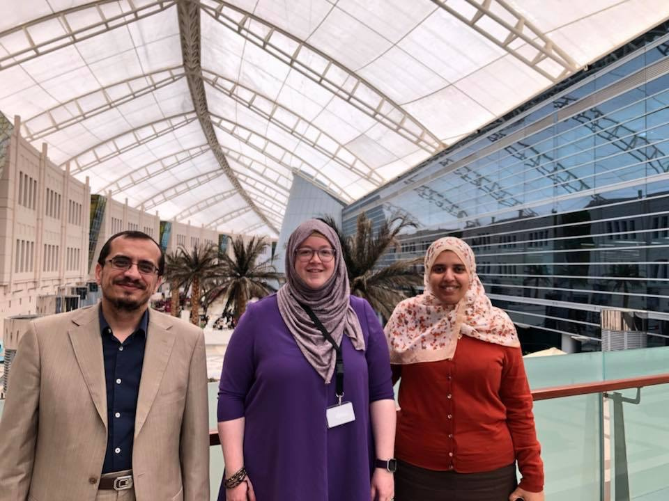 Dale with Riham al-Khafagi and Ahmed Salem of Zayed University.
