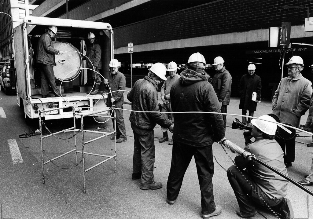 Fiber optic installation. Chicago, 1977.