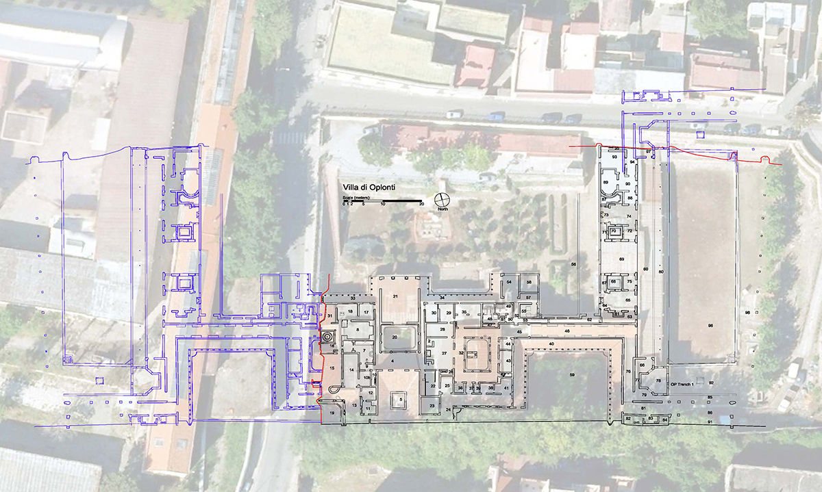 Aerial view of Oplontis site with superimposed plan of actual and hypothetical remains. Drawing Timothy Liddell. © The Oplontis Project