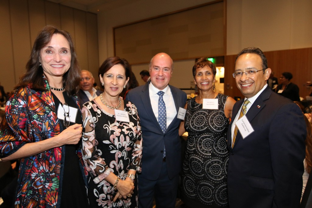 Celebrating the Benson Centennial kickoff. From left, LLILAS Benson Director Virginia Garrard, Adriana Pacheco, Fernando Macías, Vice Provost and Director of Libraries Lorraine Haricombe, and Consul of Mexico Carlos González Gutiérrez.