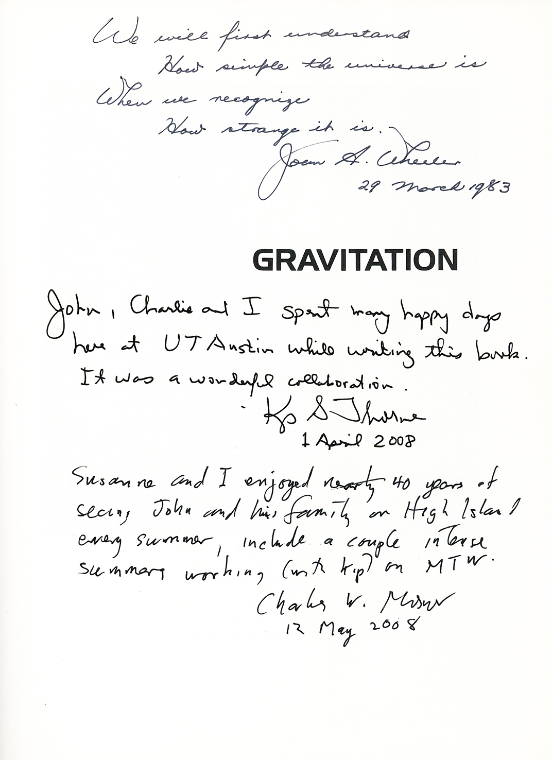 "Inscriptions by the authors on the frontispiece of ""Gravitation."""