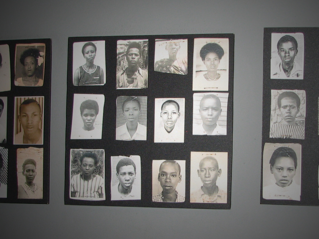 Photos of victims of the Rwandan Genocide.