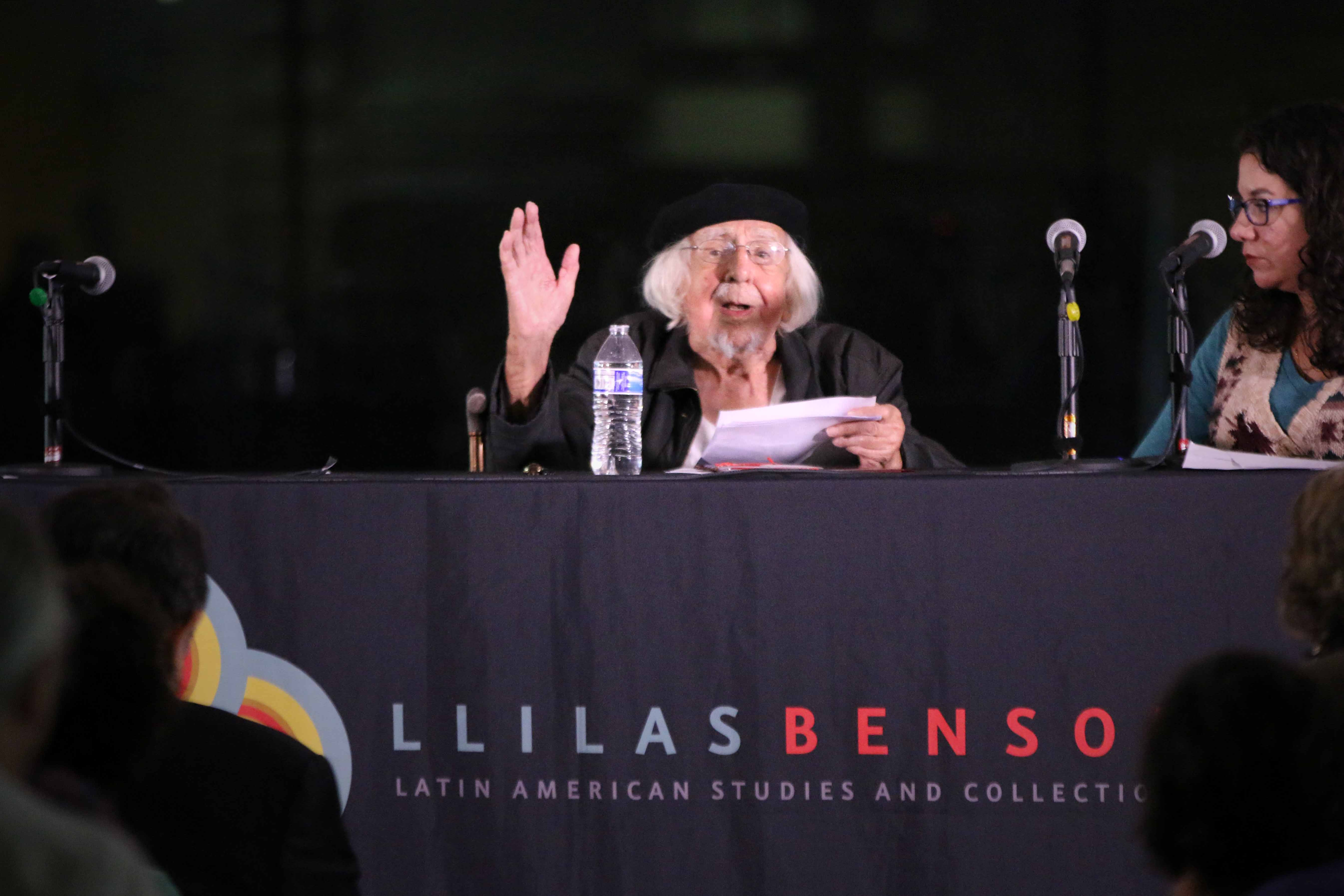 Ernesto Cardenal at the Benson Latin American Collection.