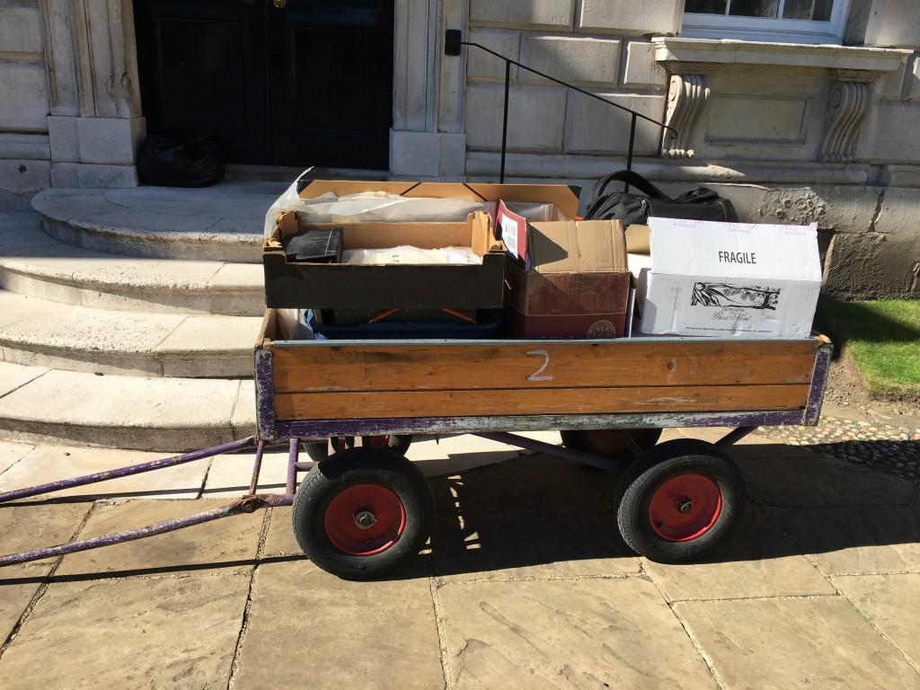 50 years' worth of ethnographic research in a wooden cart (Hughs-Jones collection), courtyard of King's College, Cambridge