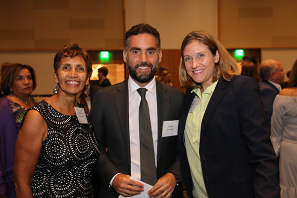 "Lorraine Haricombe, Enrique Acevedo and Benson Director Melissa Guy at ""An Evening of Discovery."""