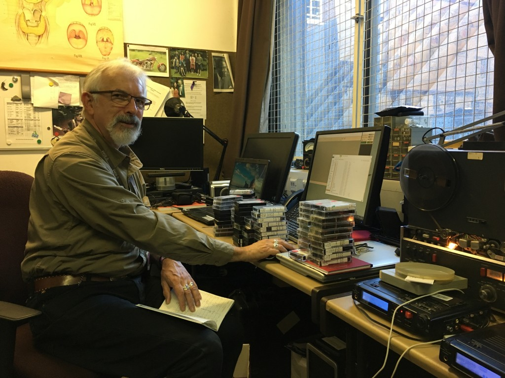 Bernard Howard, sound technician, SOAS, working with cassette tapes from the collection of Elsa Gomez-Imbert