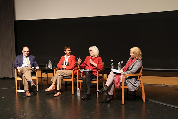 James Hilton (University of Michigan), Lorraine Haricombe, Anne Kenney (Cornell) and Michelle Addington (School of Architecture) at the townhall on the future of libraries.