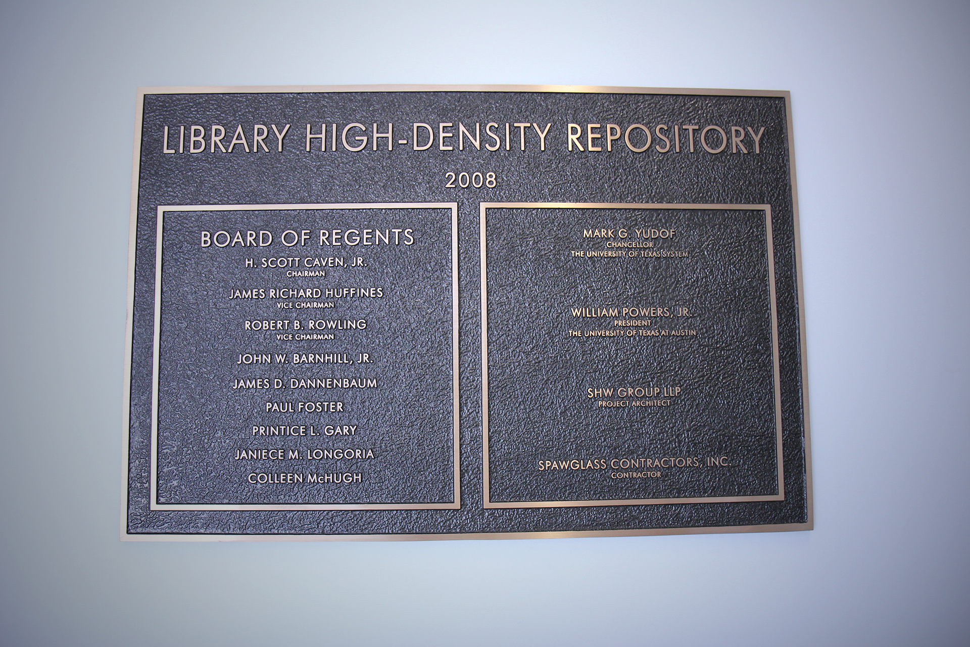 The plaque designating the opening of LSF 2.