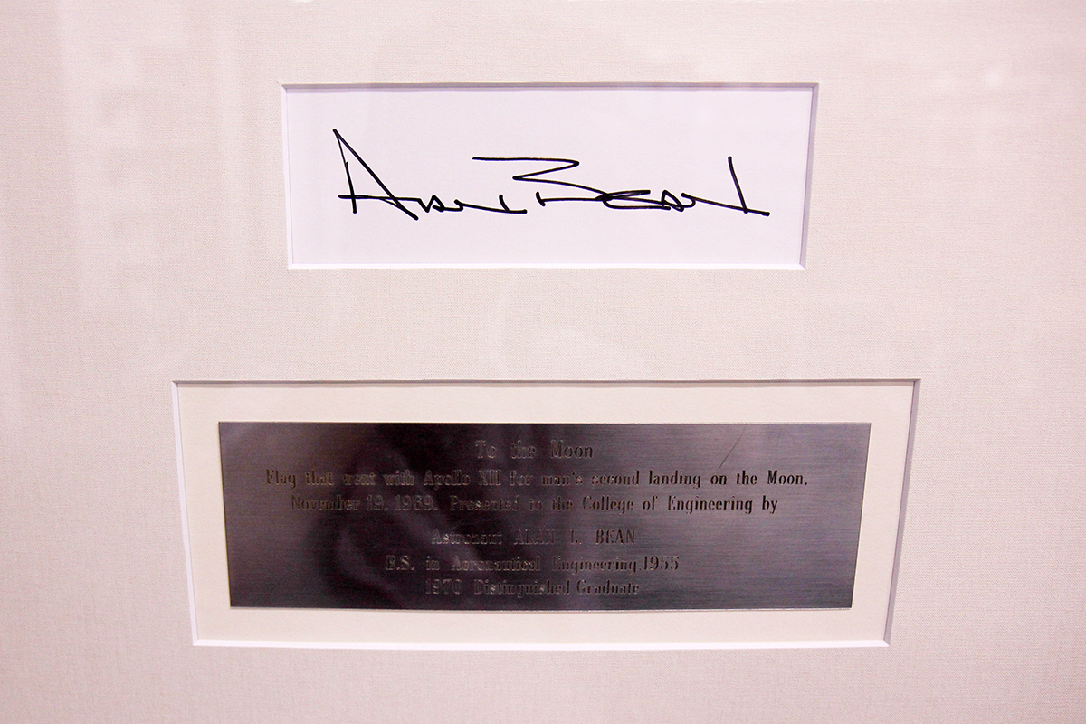 Signature and plaque for Alan Bean lunar flag.