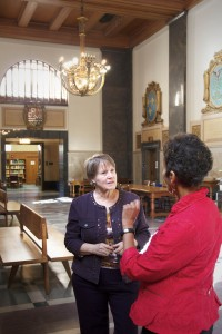 Nancy Elder talks with Lorraine Haricombe.