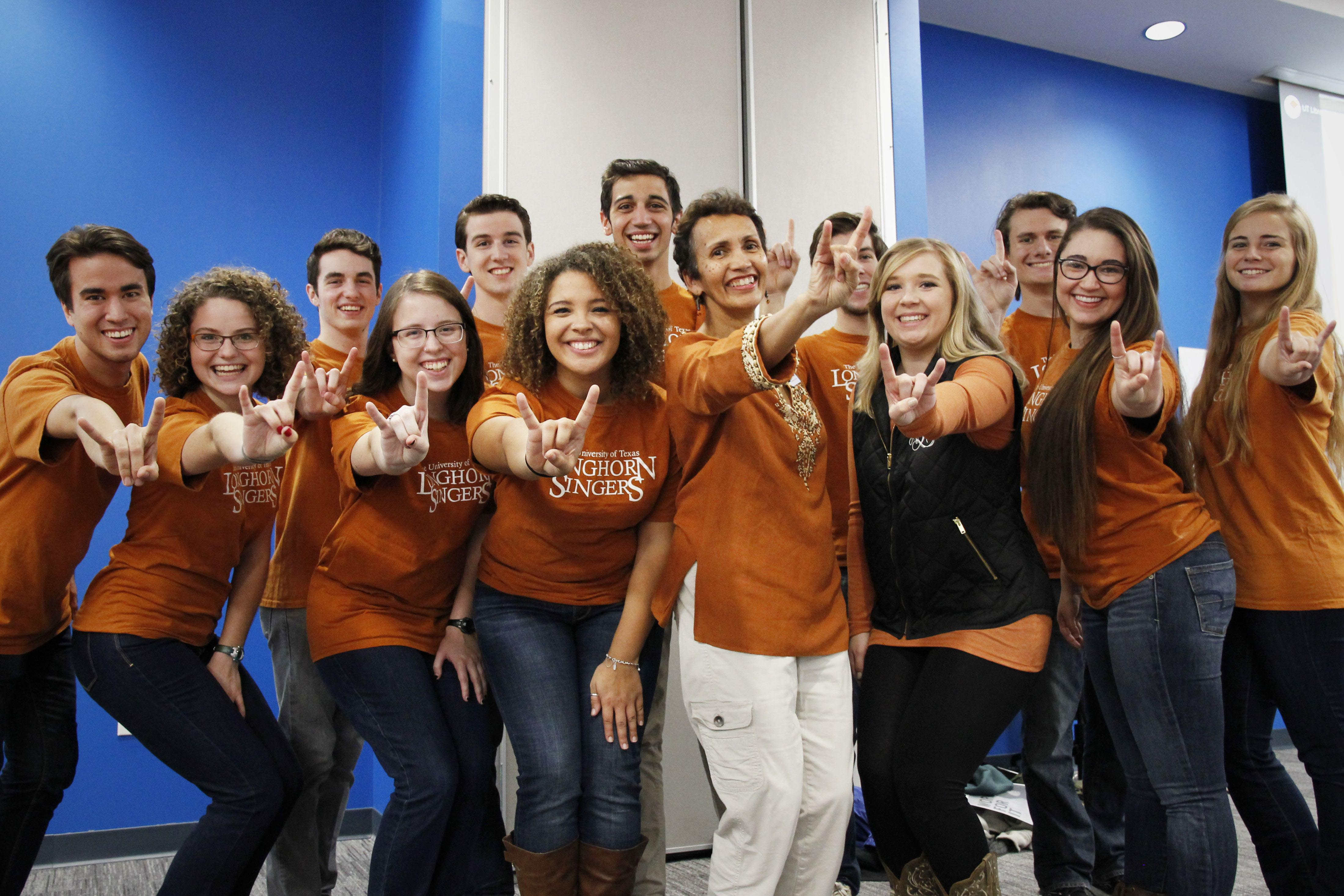 Vice Provost and Director of the UT Libraries Lorraine Harricombe with the Longhorn Singers.
