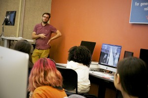 Andy Wilbur oversees the training of Media Lab student staff.