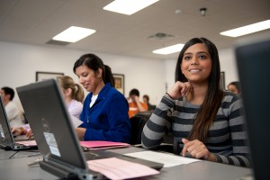 Students attend one of the LIbraries' classes at PCL.