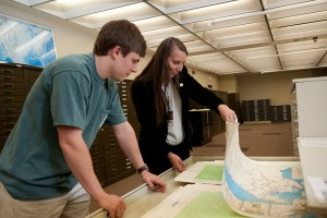 PCL Map Collection manager Katherine Strickland assists a patron