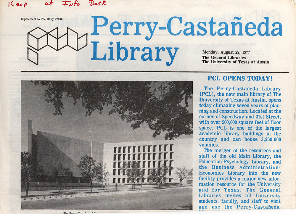 Daily Texan supplement announcing the opening of PCL, August 29, 1977.