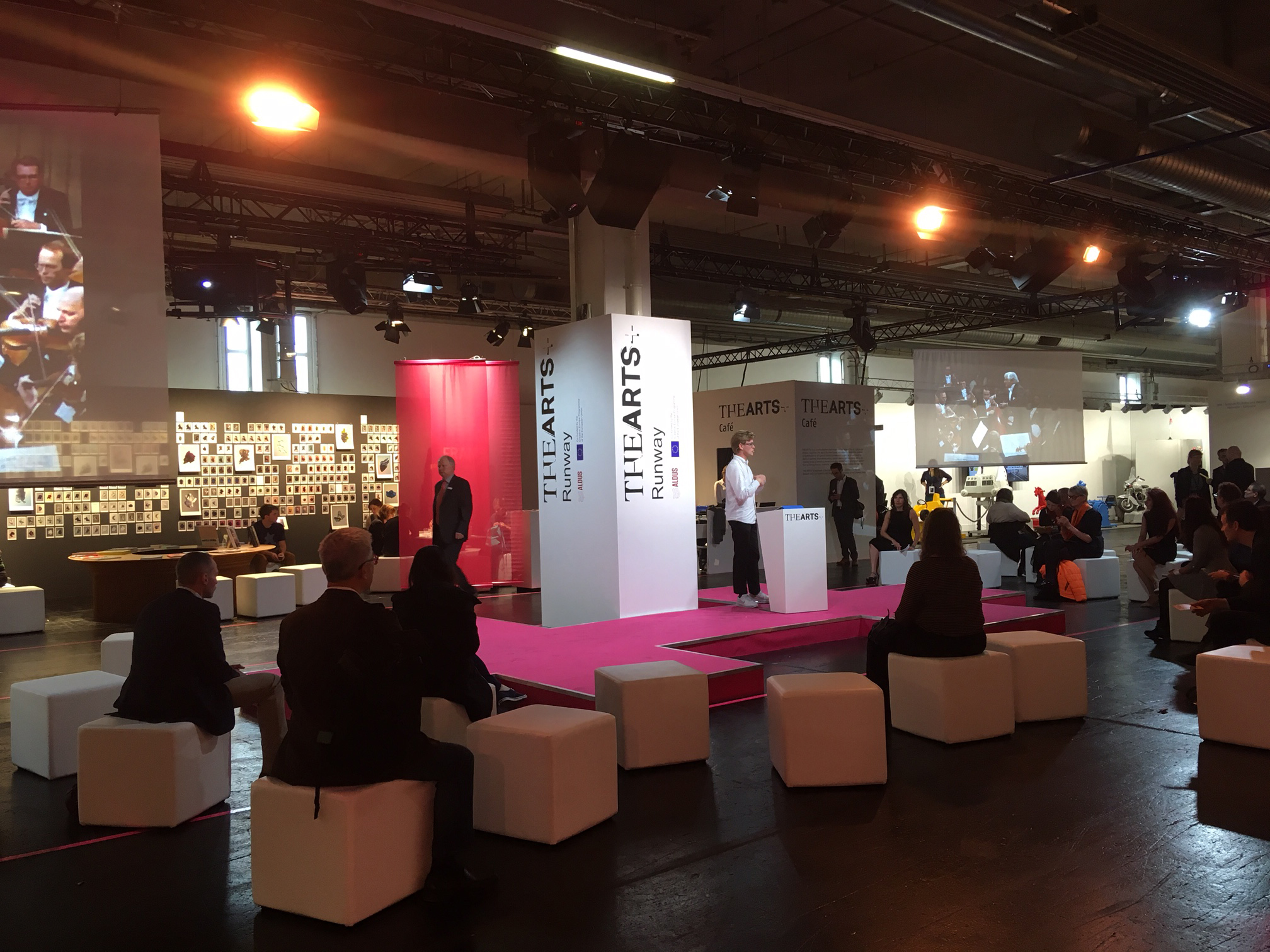 A presentation on new technologies for the humanities being given during the Frankfurt Book Fair.
