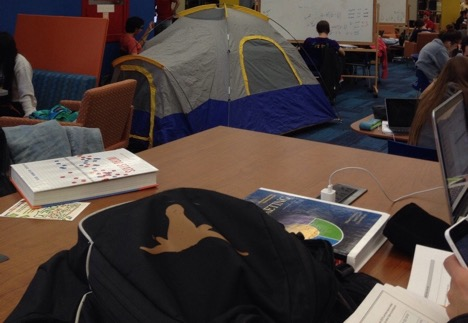 Tents occasionally pop up in the libraries during finals.