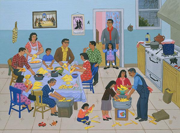 Tamalada 2003 (2003) by Carmen Lomas Garza. IRIS giclée digital print on paper, 4/180. Benson Latin American Collection.