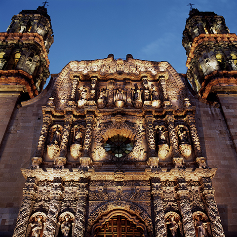 Catedral de Zacatecas at dusk. Carolyn Brown.