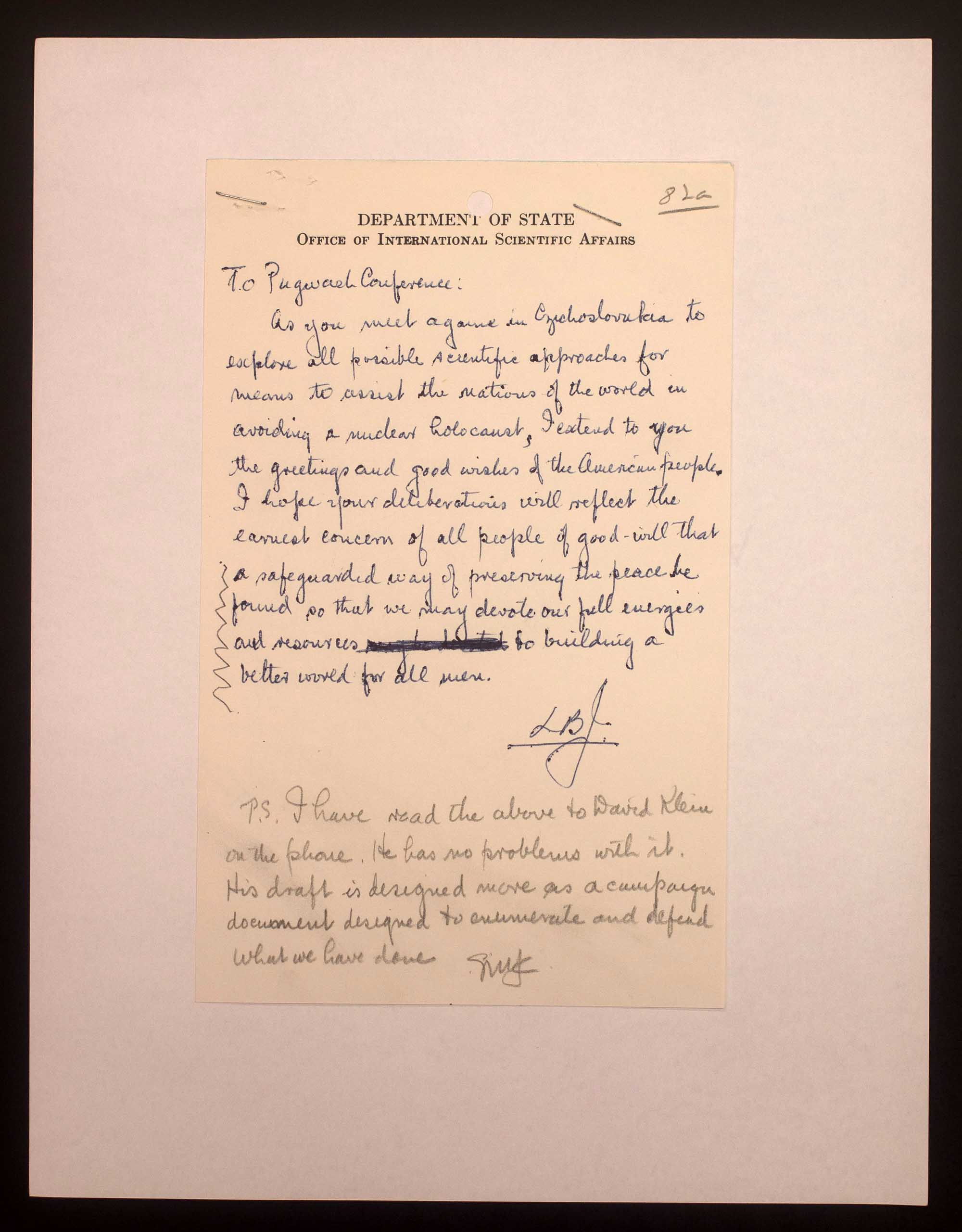 Handwritten note from President Johnson to the Pugwash Conference regarding the avoidance of nuclear war.