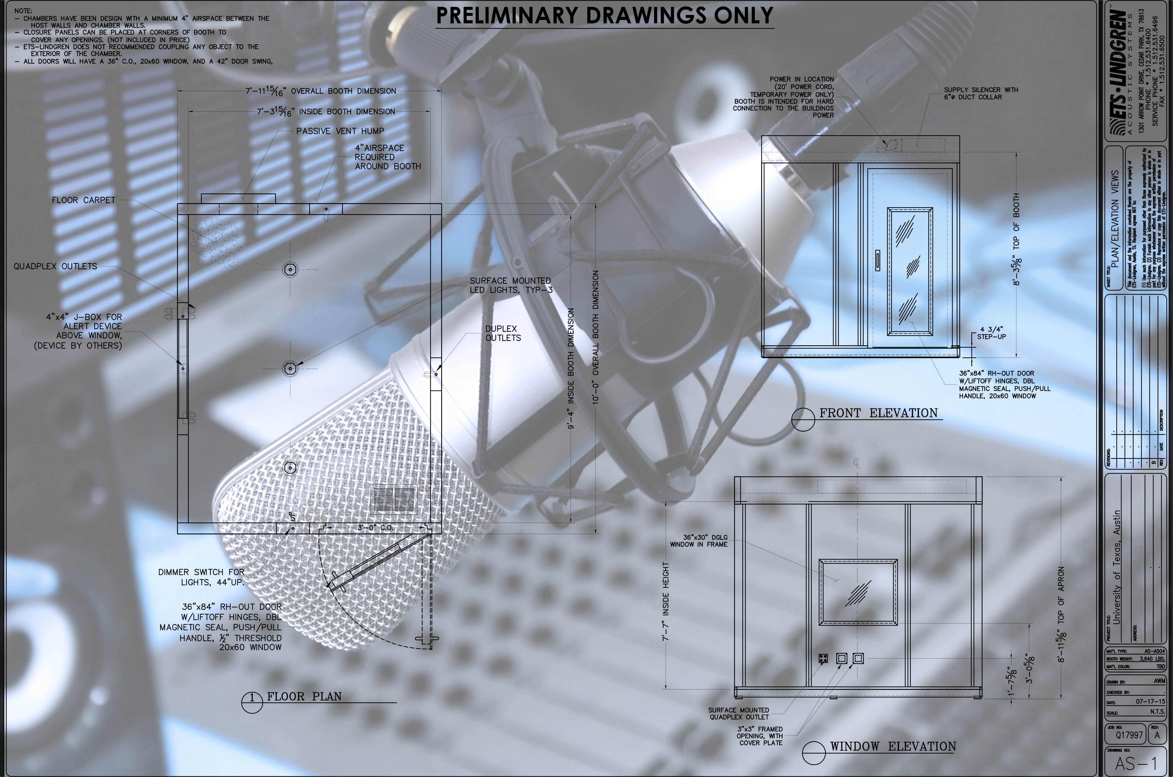 Preliminary drawings for the recording soundbooth.