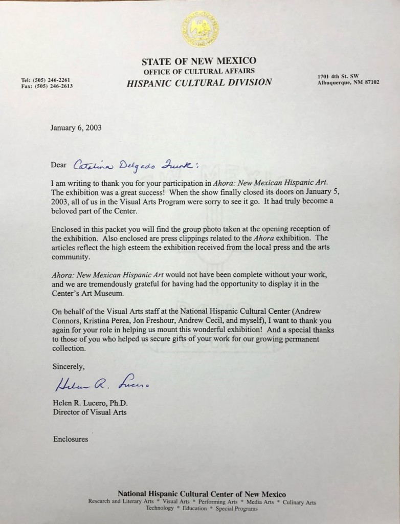 Letter from Helen R. Lucero of the National Hispanic Cultural Center to Catalina Delgado-Trunk congratulating her on a successful exhibit