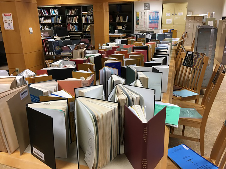 Books drying.
