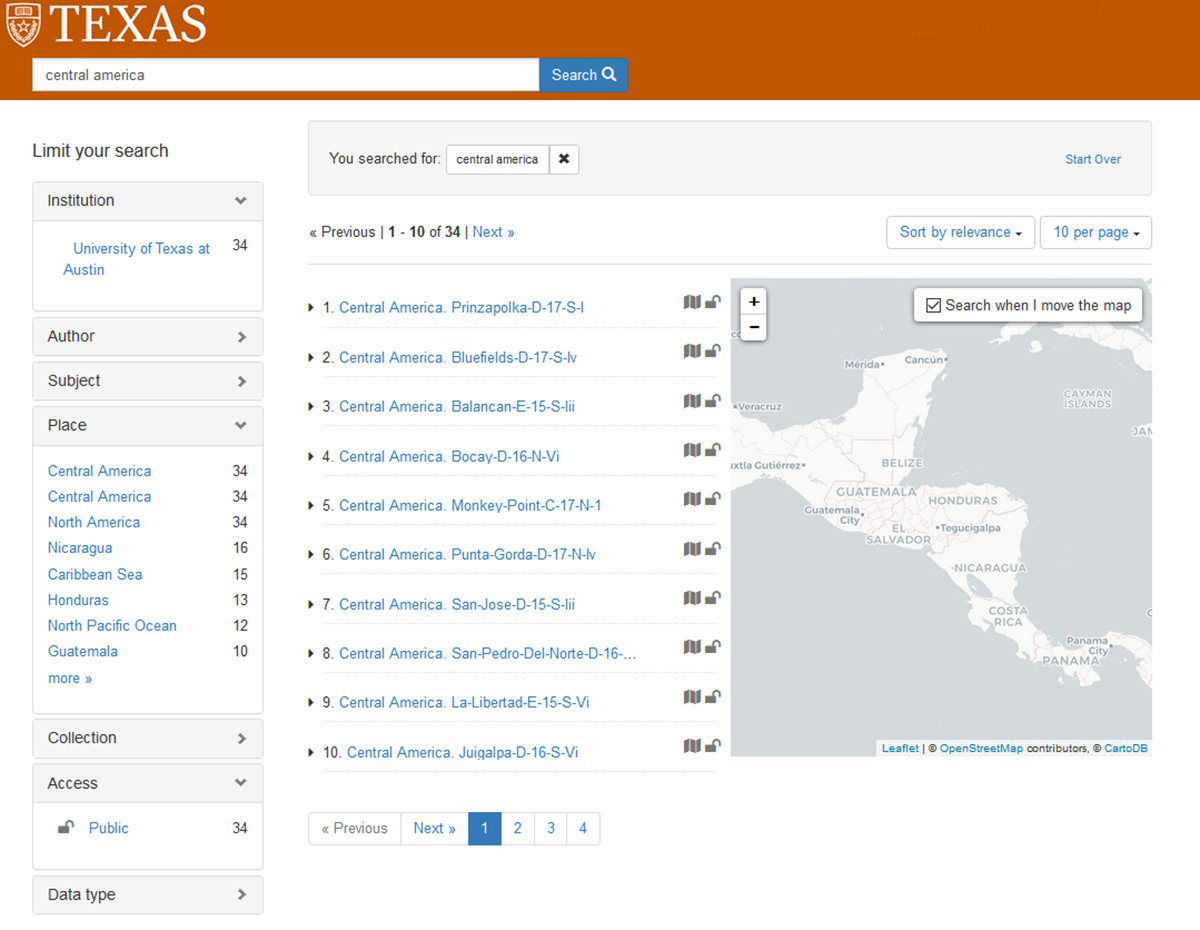 Screenshot of the search results page in a still-under-development version of the UT Libraries GeoBlacklight portal