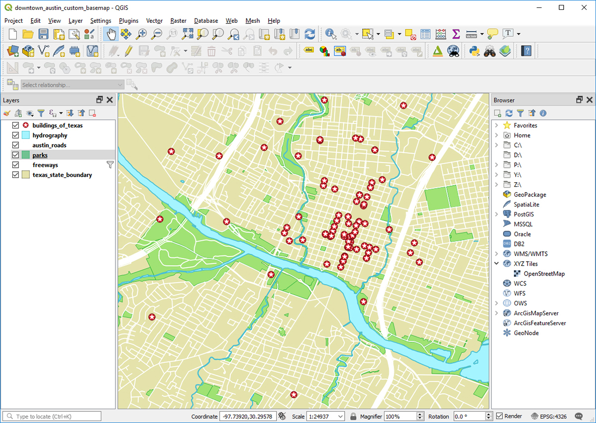 Example of a QGIS project