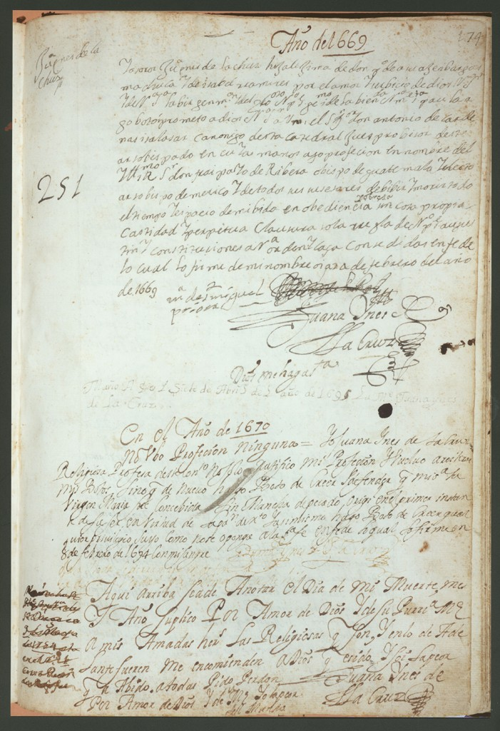 """Libro de professiones y elecciones de prioras y vicarias del convento de San Gerónimo, 1586–1713."" Ink and blood on paper. 8 x 12 inches. Dorothy Schons Papers, Benson Latin American Collection."