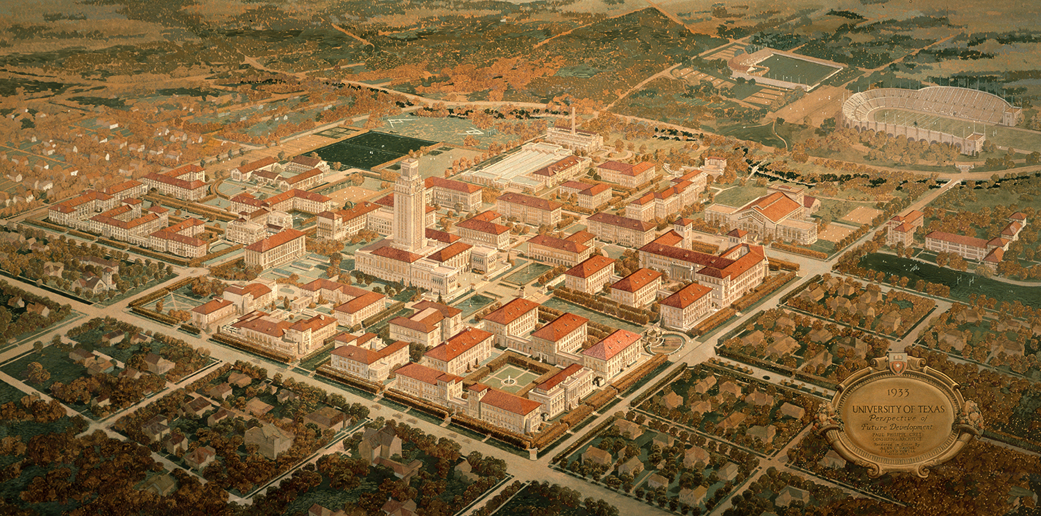 Paul Cret's campus master plan. Alexander Architectural Archives.