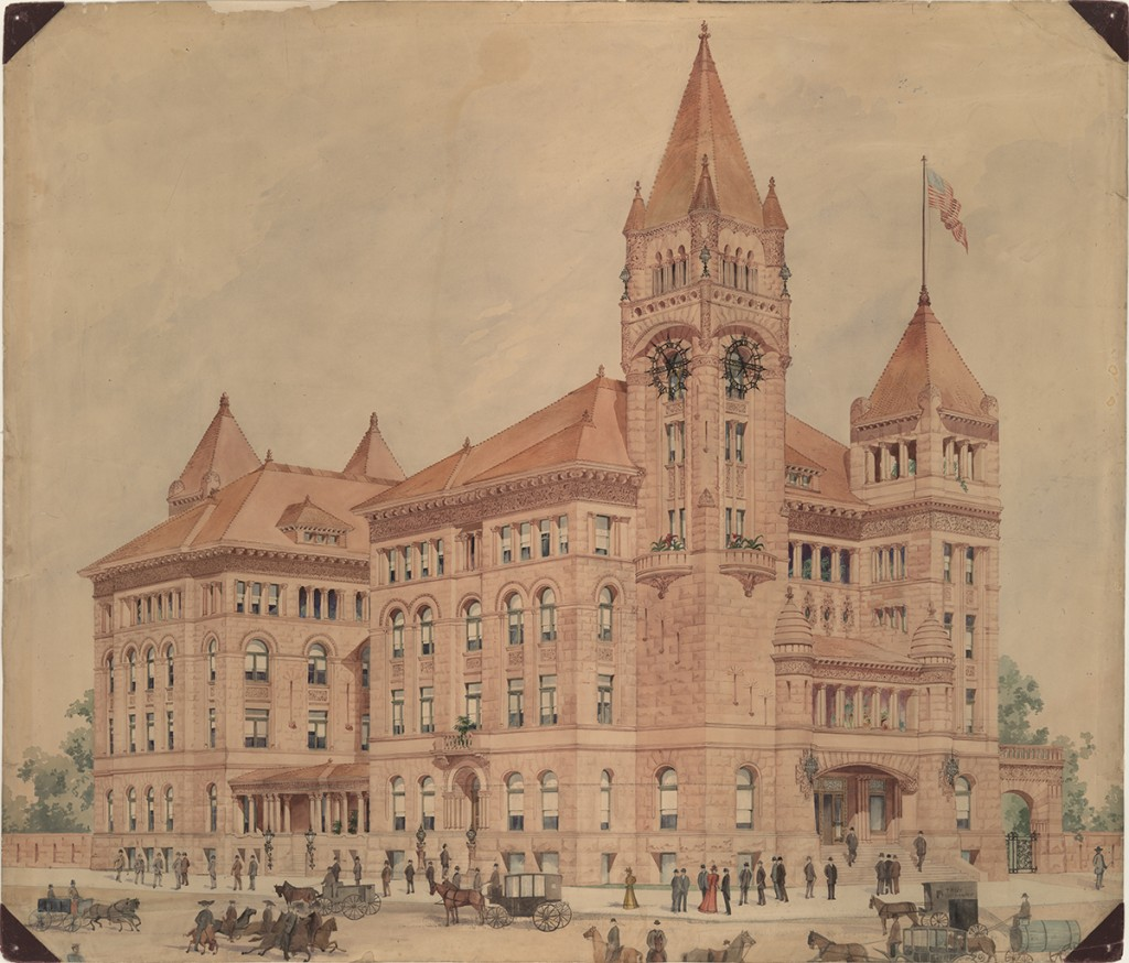 Bexar County Courthouse rendering, undated Bexar County, Texas. James Riely Gordon Drawings and Papers. Alexander Architectural Archive. University of Texas Libraries. The University of Texas at Austin.