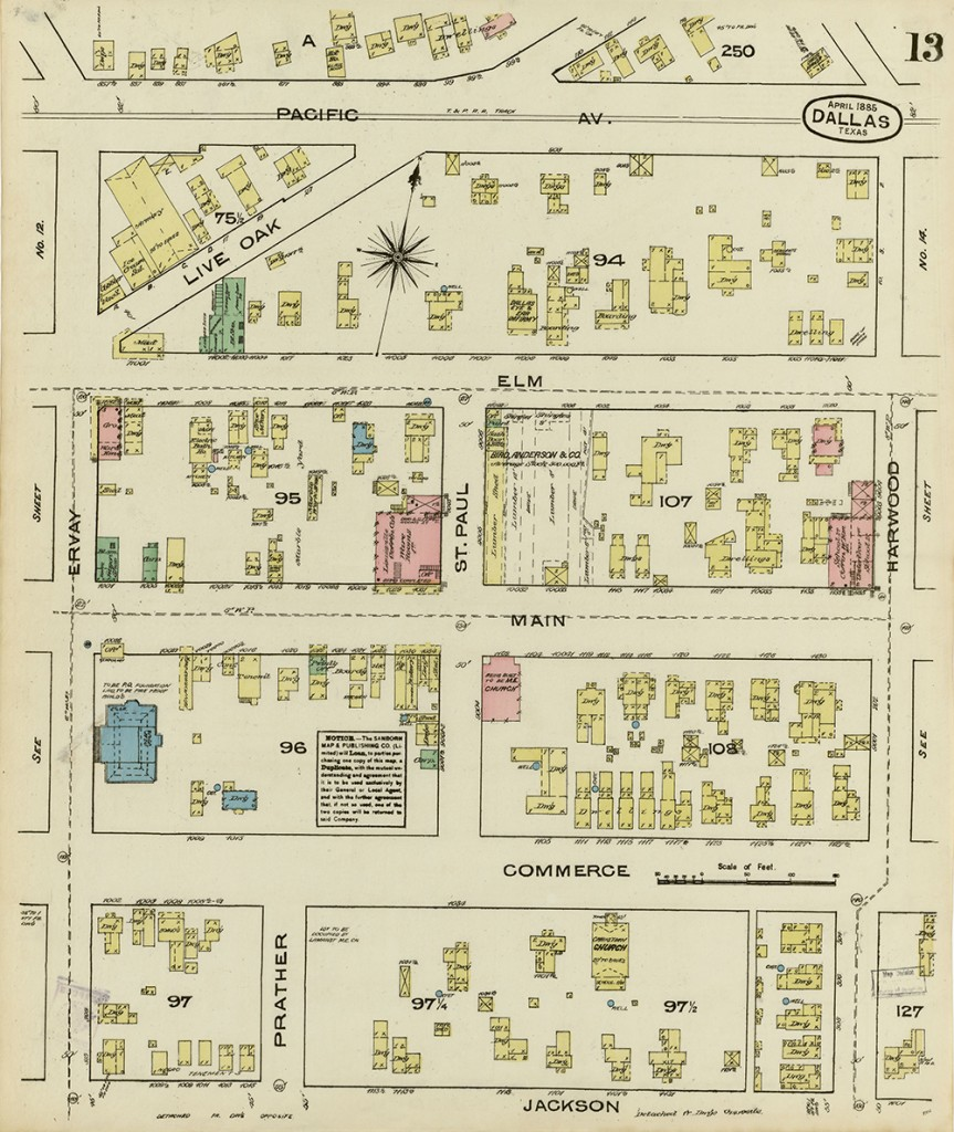 Dallas, 1885, Sheet 13. Sanborn Map Collection, PCL Map Collection online. Original courtesy the Briscoe Center for American History.