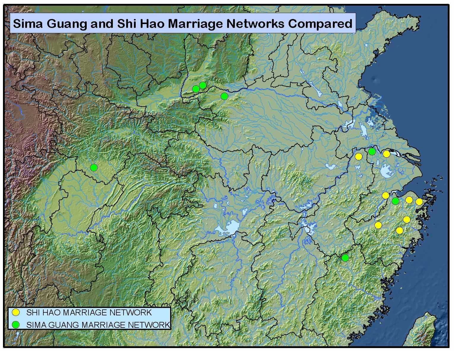Spatial extent of the marriage networks of the Northern Song statesman Sima Guang and the Southern Song statesman Shi Hao.