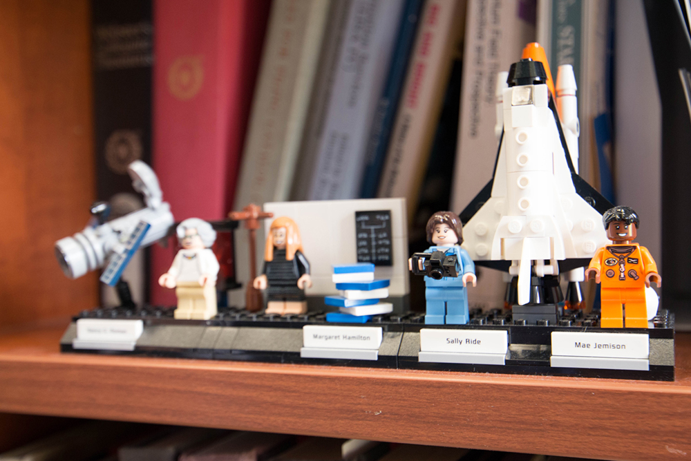 Science Legos on a shelf in Lydia's office.