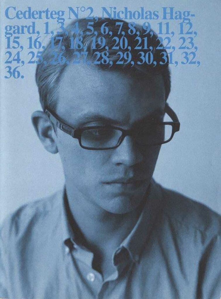 """zine cover, man in glasses with blue tint, title """"cederteg Nº2, Nicholas Haggard, 1,3,4,5,6,7,8,9,11,12,15,16,17,18,19,20,21,22,23,24,25,26,27,28,29,30,31,32,36."""""""