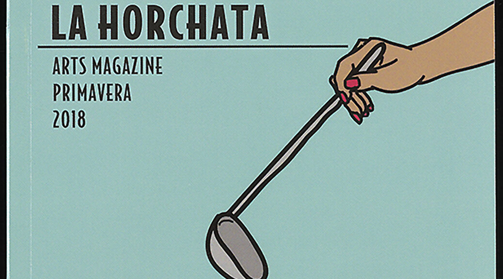 cover for horchata zine. drawing of hand with ladel.